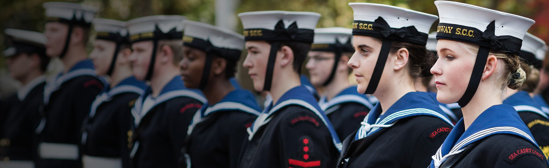 Sea Cadets stood in a line.